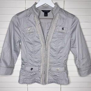 WHBM Hook Front Ruffle Coat Blazer 3/4 Sleeve